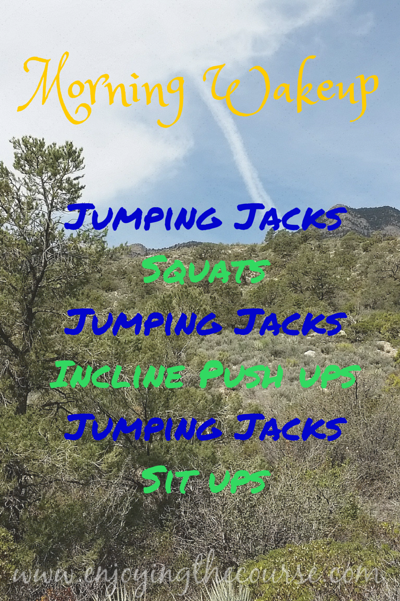 I've been starting each day with this Morning Wakeup routine - Jumping Jacks, Squats, Jumping Jacks, Incline Push Ups, Jumping Jacks, Sit ups
