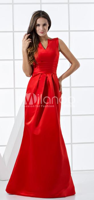 Rouge Enveloppé Longueur étage Tour A-ligne Robes de soirée en satin