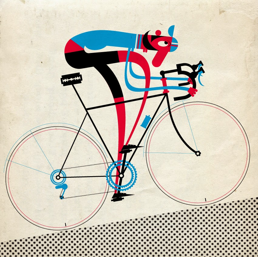 illustration of a bicycle rider going uphill by Mick Marston