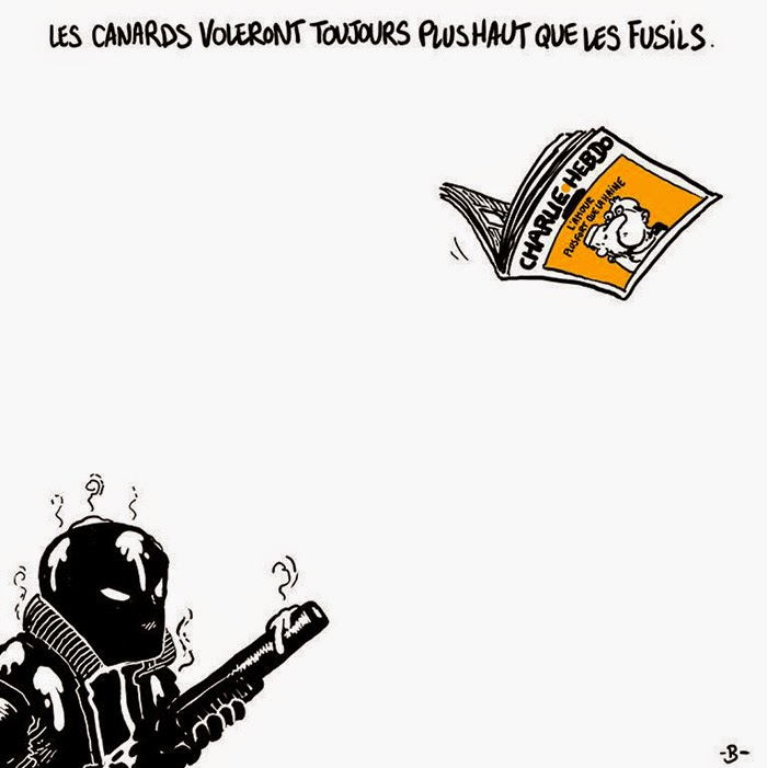 The Pen Is Mightier Than The Sword 28 Cartoonists Pay Tribute To The Victims Of The Charlie Hebdo Shooting - Ducks (newspapers) will always fly higher than guns