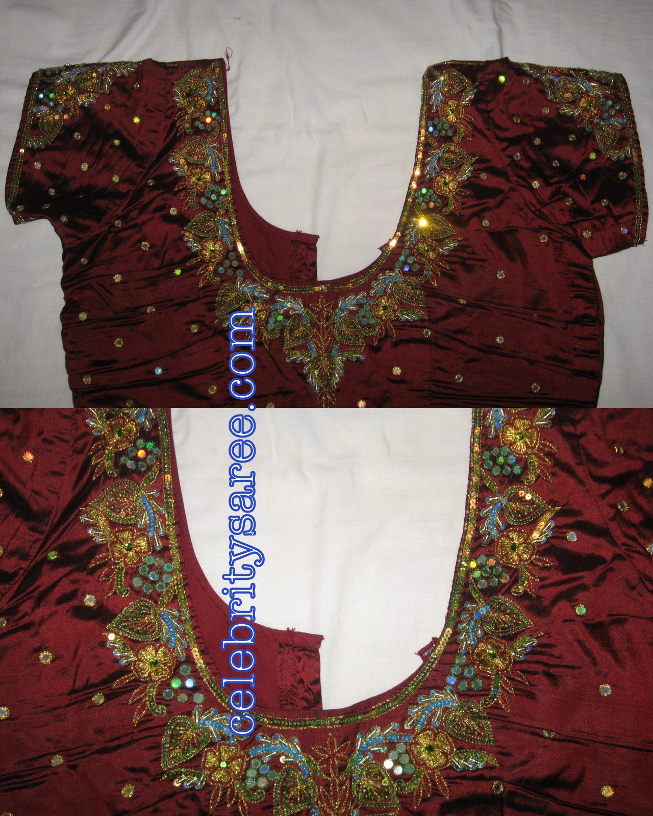 aari zardosi beads embroidery: new pattu saree and blouse