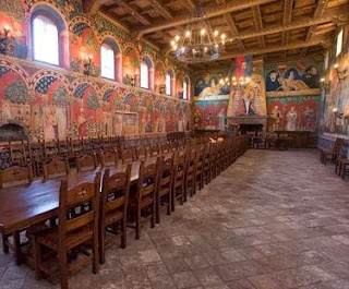 Hand painted frescos in the Great Hall at Castello di Amorosa
