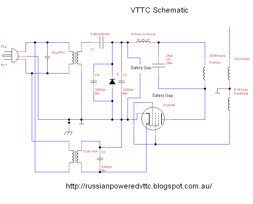 Vacuum Tube Tesla Coil: Vacuum Tube Tesla Coil Schematic VTTC on