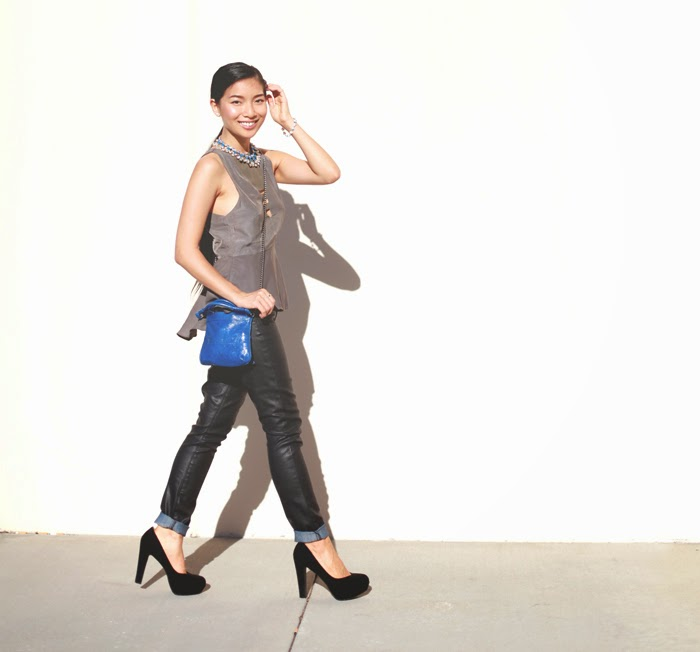 Stephanie Liu of Honey & Silk wearing Three of Something shirt, Rich & Skinny pants, Foley & Corinna Tiny City bag, and Pink and Pepper shoes