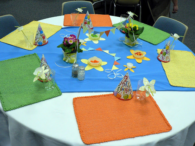 Mini Paper Bunting craft, church dinner, spring table, spring center piece