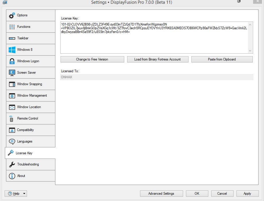 DisplayFusion Pro 7.0.0 (Beta 11) Universal Full Keygen