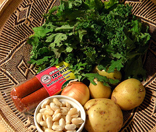 Basket with Kale, Potatoes, Beans, Soyrizo, and Onion