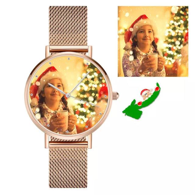 Unisex Engraved Rose Gold Alloy Bracelet Photo Watch 40mm