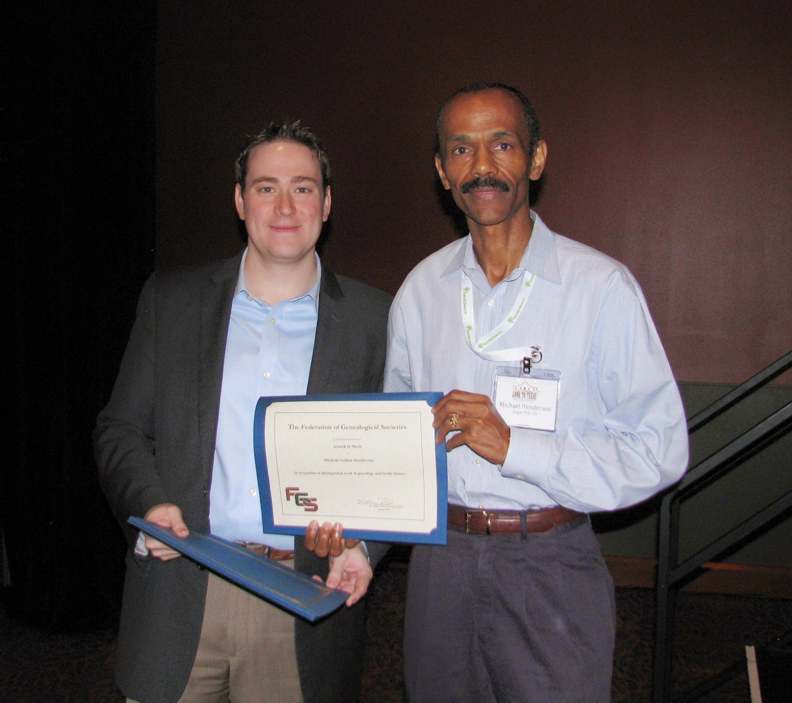 2014 Fgs Award Of Merit Presented To Michael Nolden Henderson Of