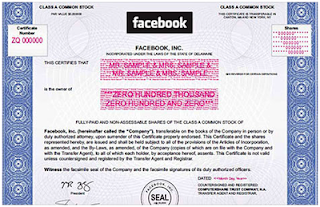 Facebook paper stock certificate. NASDAQ opens at 9:30 ET, but Facebook shares won't trade until 11:00 AM or later.