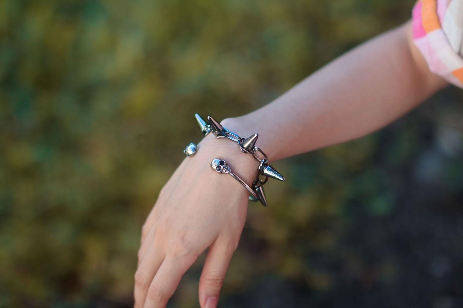 Metal Skull and Spikes Bracelet