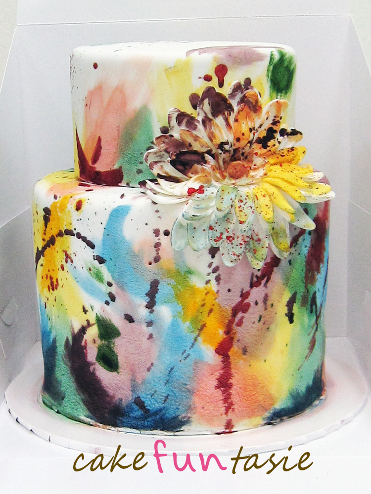 Cake Art Pics : Cake Funtasie: Abstract Art 2 Tier High Cake