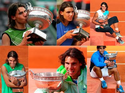 El tenista Rafa Nadal con sus seis títulos de Roland Garros