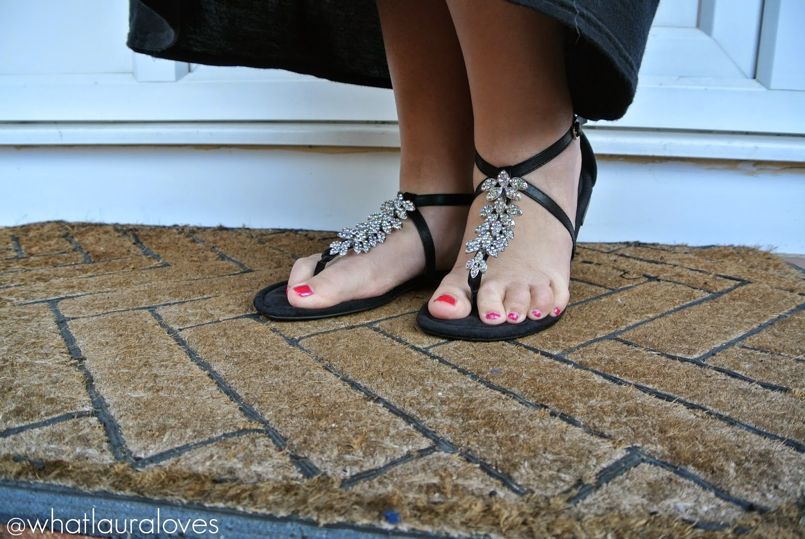 House of Fraser Evans Jewelled Toe Post Sandals in black