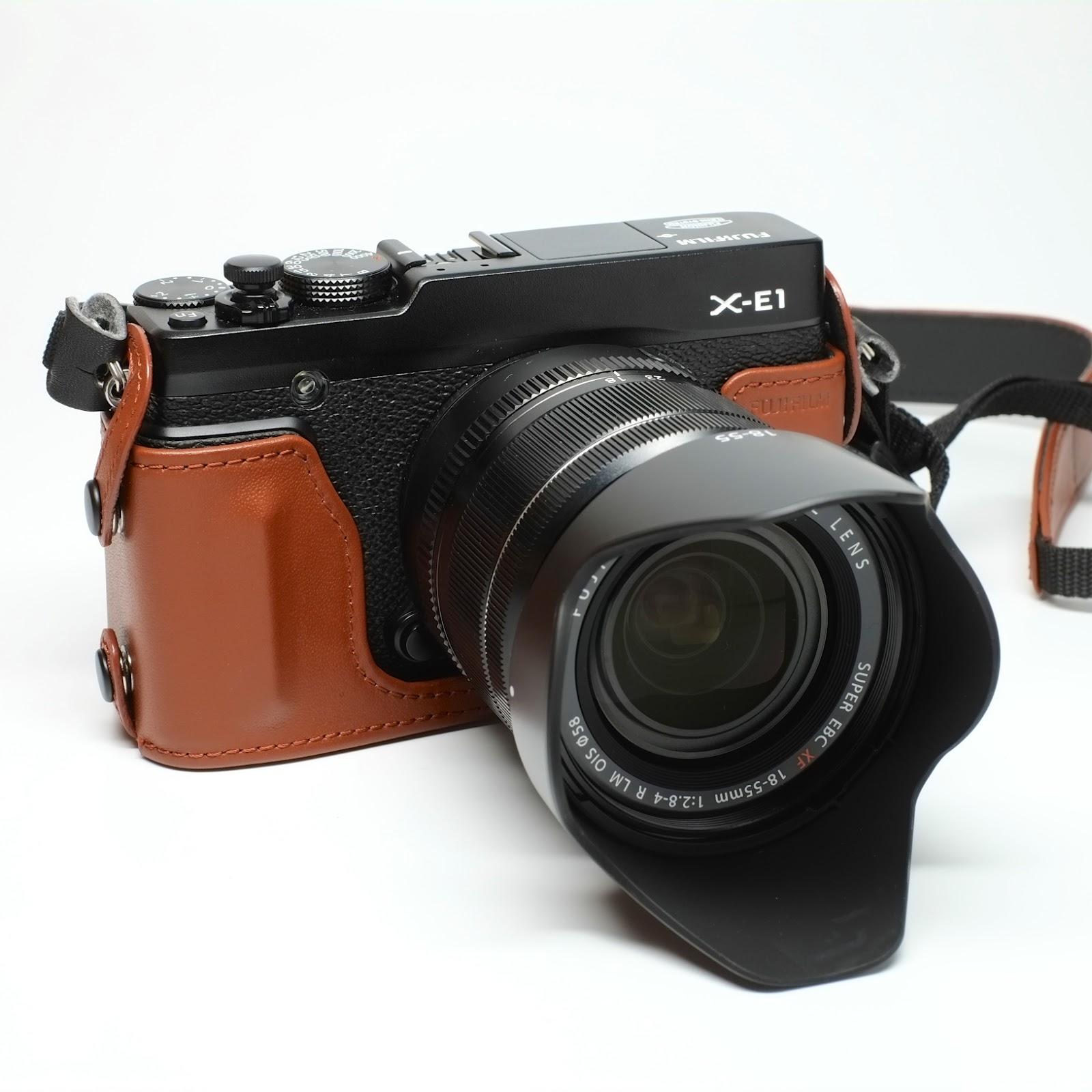 fujifilm x e1 leather half case xf14mm lens. Black Bedroom Furniture Sets. Home Design Ideas
