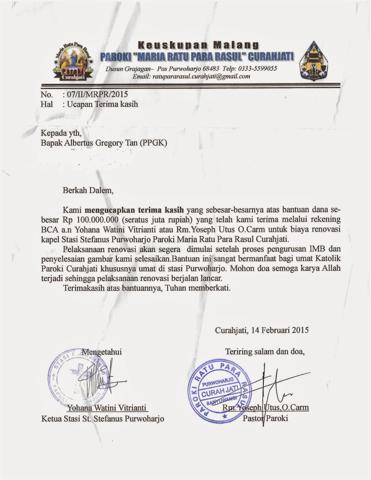 Contoh Surat Resmi Gereja Katolik Def Contoh