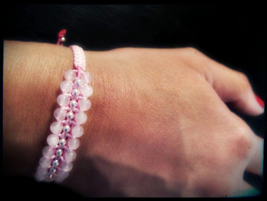 Pulsera plata cuarzo rosa semipreciosas artesanal personalizada joyería