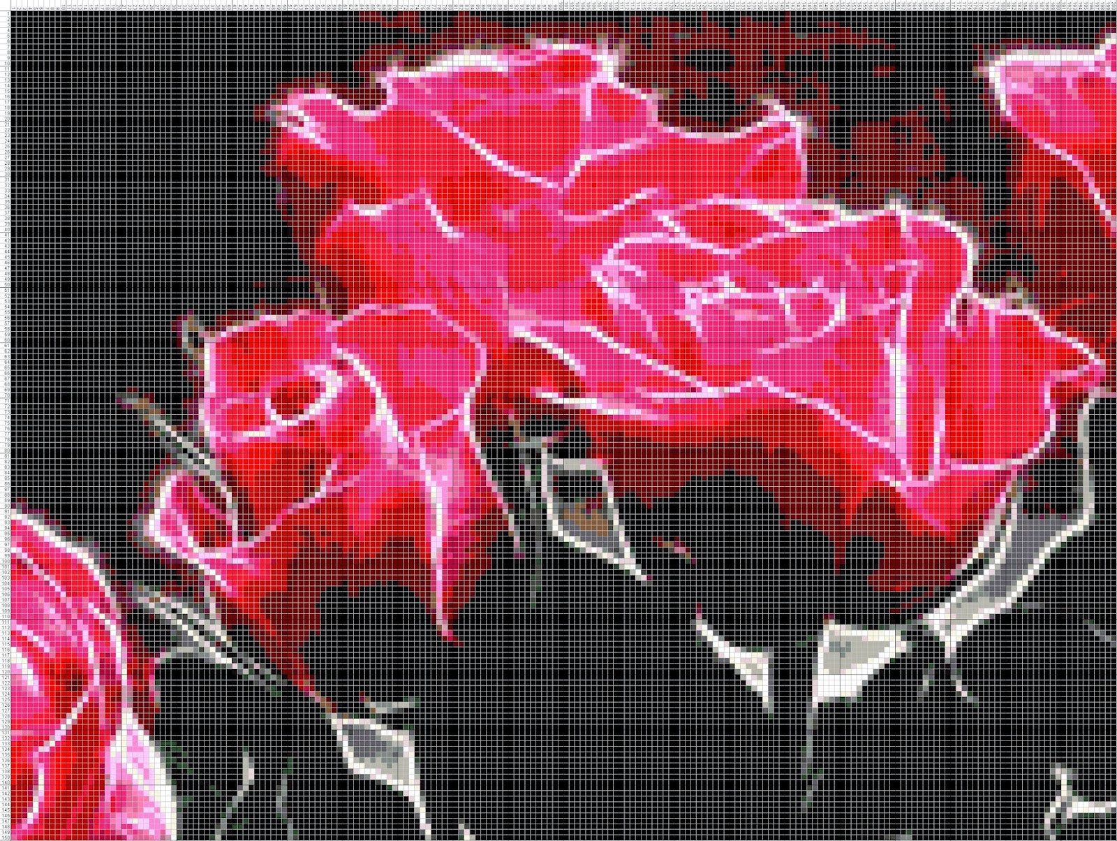 Gambar Pola Kristik Bunga Mawar Merah (2)
