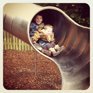 Kian and Isaac on the big slide - Moors Valley