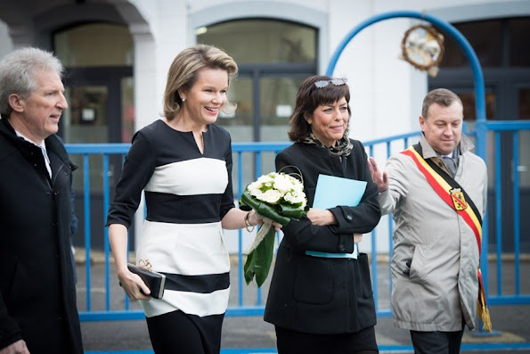 Queen Mathilde of Belgium, Federation Wallonia - Brussels Minister of Compulsory Education, School Buildings, Childhood and Culture, Joelle Milquet and Namur province governor Denis Mathen visited the Saint-Joseph school in Couvin