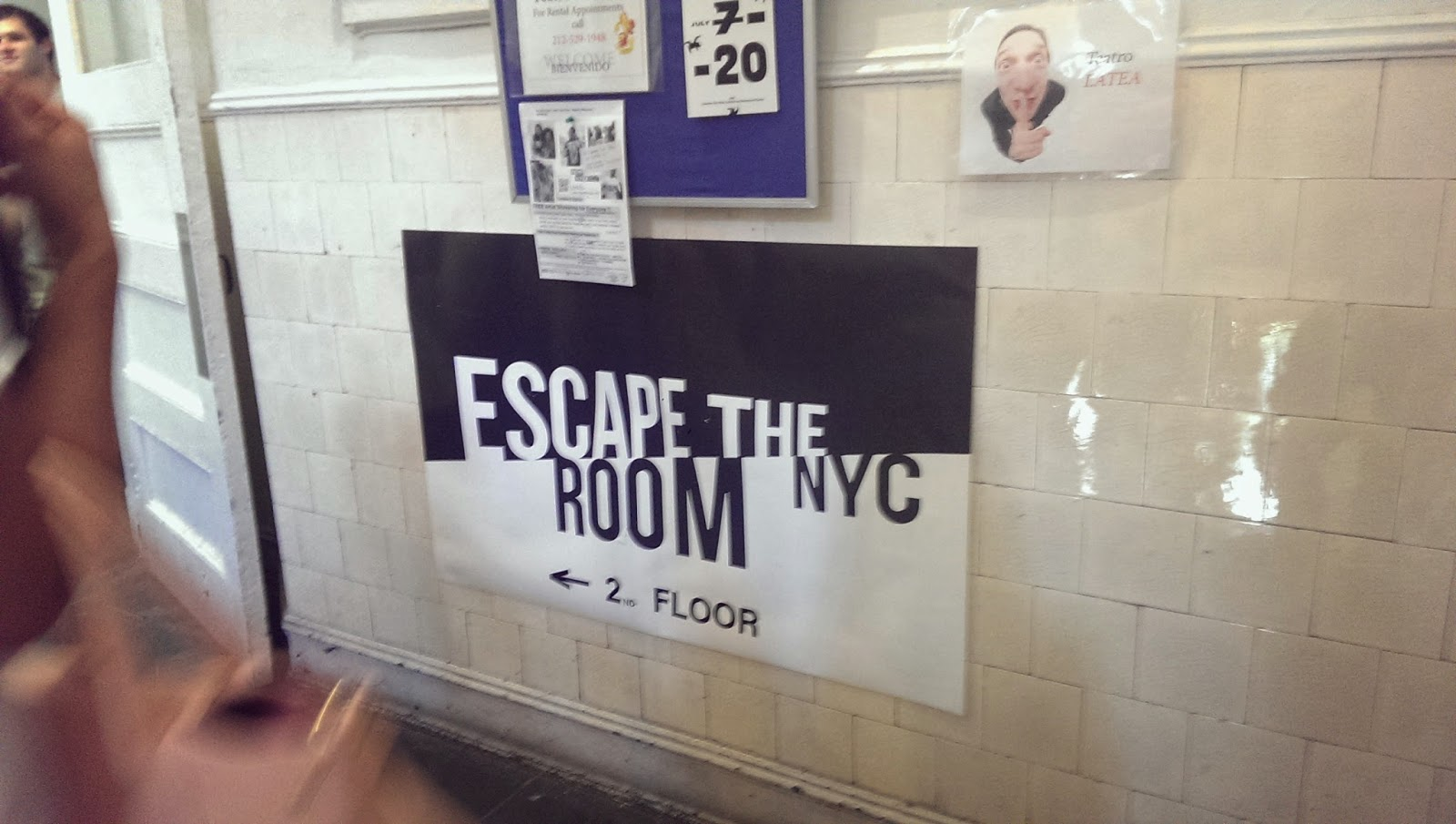 Escape the Room sign in the staircase