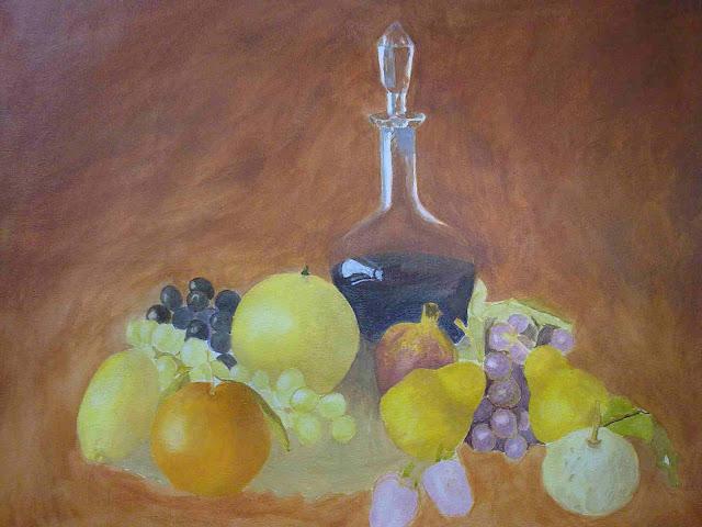 bodegon con frutas con temple al huevo