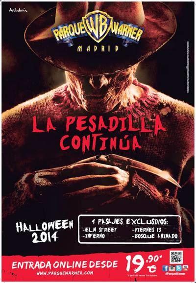 Cartel de Halloween 2014 en Parque Warner Madrid