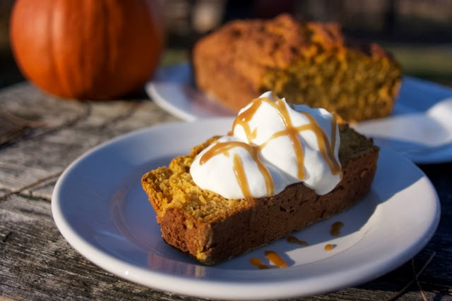 Pumpkin Yogurt Loaf w/ Maple Carmel Sauce & Greek Yogurt: Simple Living and Eating