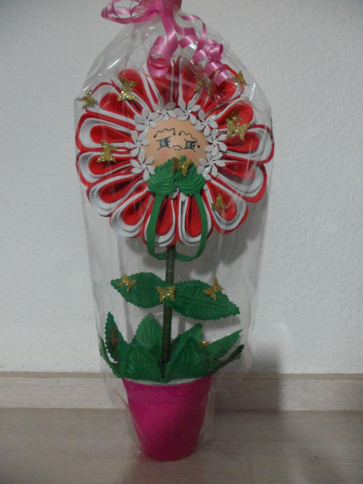 Mis manualidades flor en maceta goma eva roja y blanca - Flor de goma eva ...