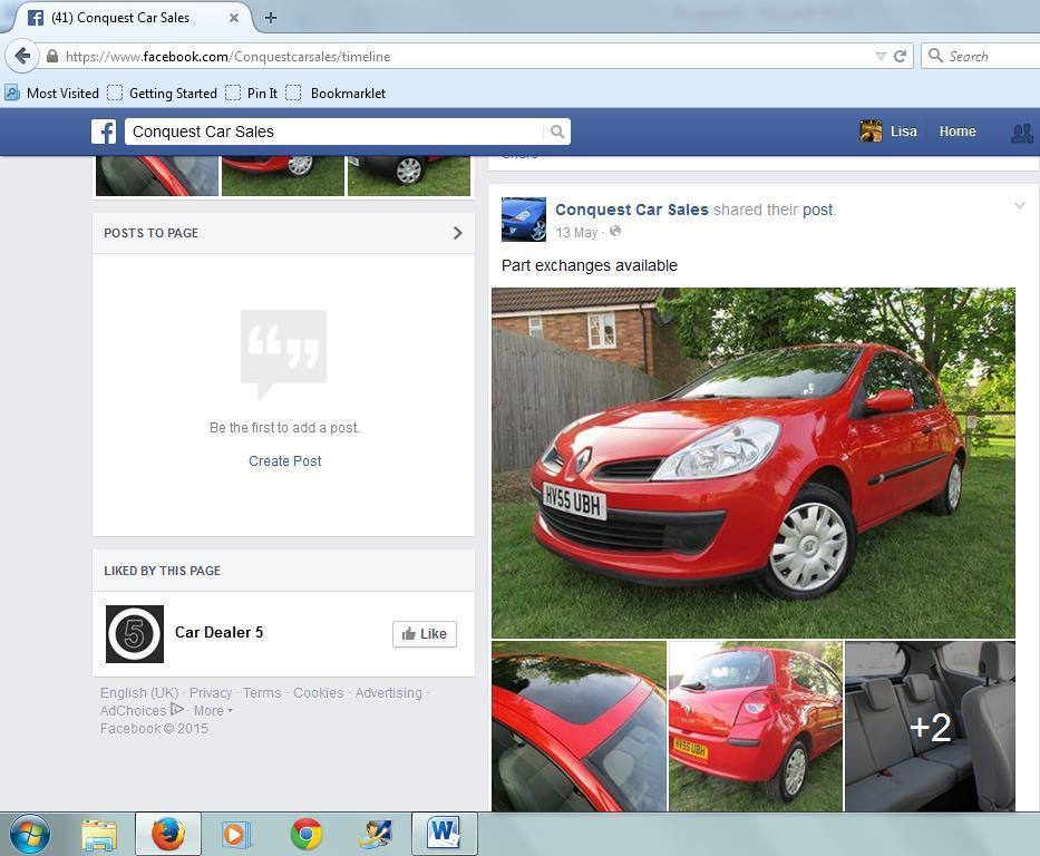 Dodgy Car Dealers: Conquest Car Sales Facebook Page