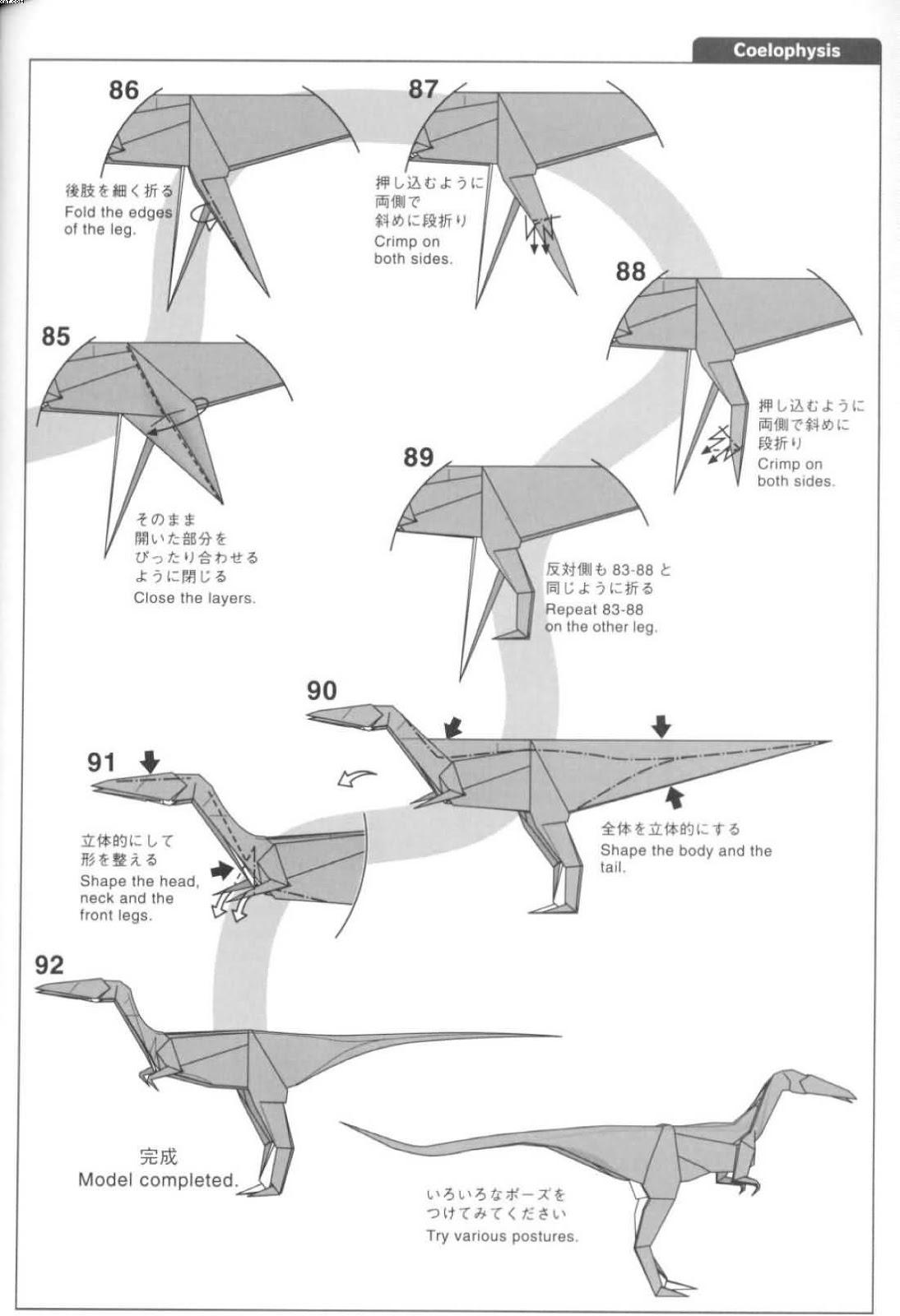 Coelophysis diseado por Satoshi Kamiya El arte del Origami