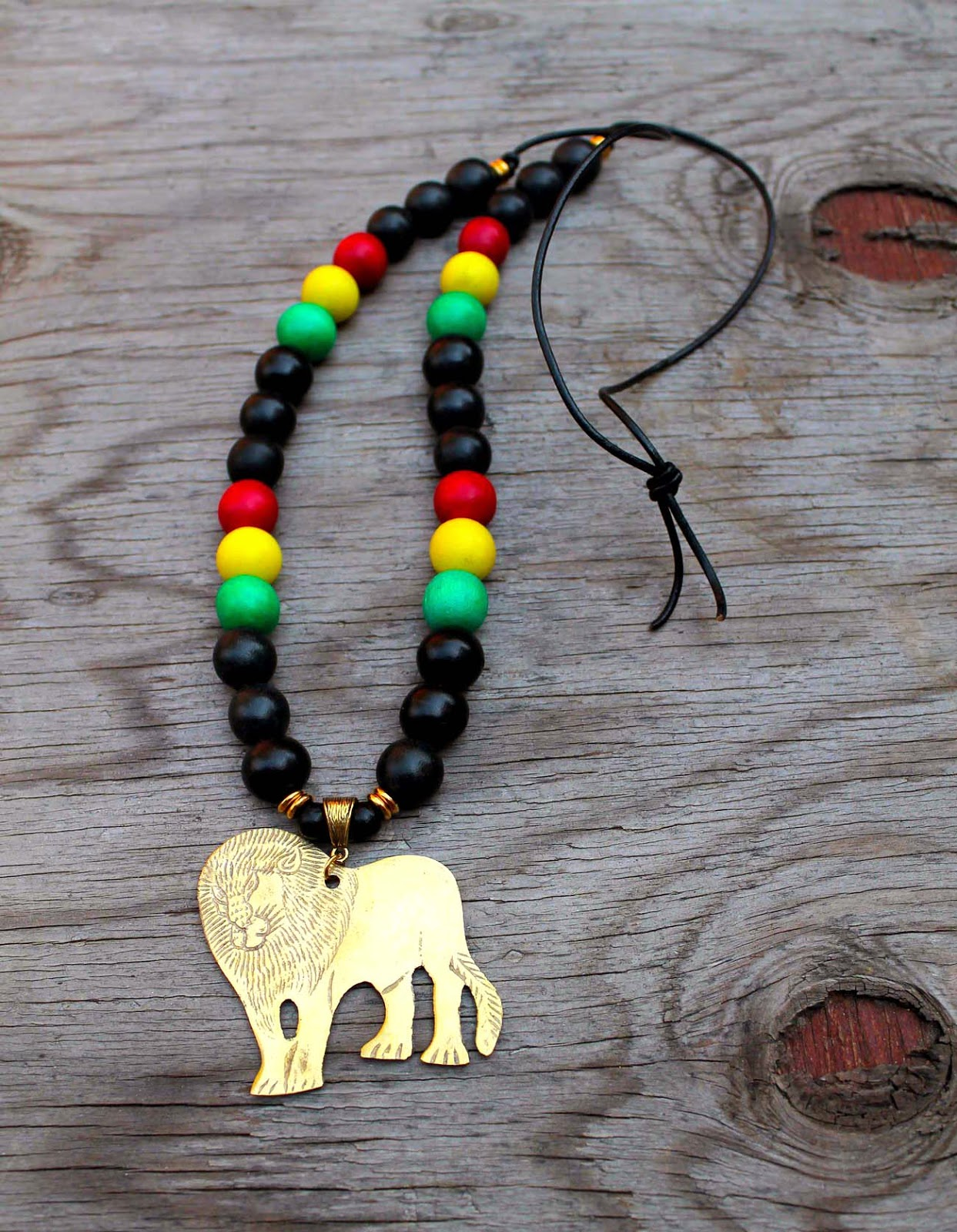 mens african lion wood bead necklace