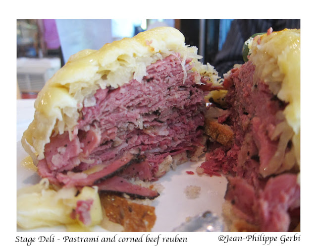 Image of Pastrami and corned beef reuben at Stage deli in NYC, New York
