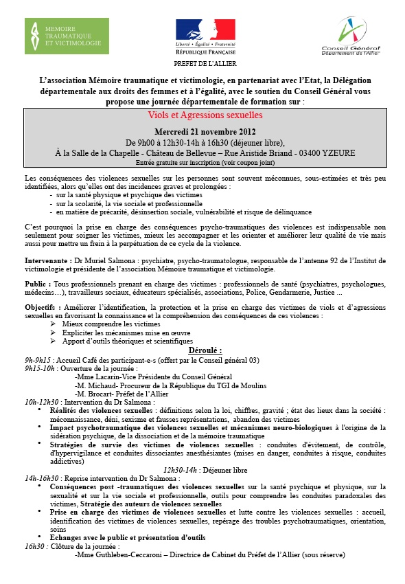 Stop aux violences familiales conjugales et sexuelles journ e moulins le 21 novembre sur - Formation par correspondance reconnue par l etat ...