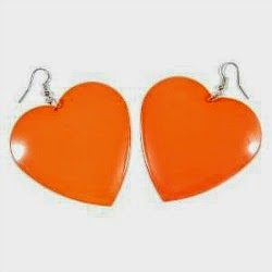 Neon Orange Heart Drop Earrings