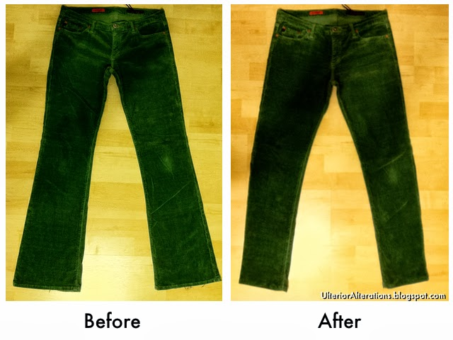 pant refashion: boot cut to skinny