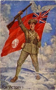 Recruitment advertisement illustration of soldier holding British Flag from WWI in Newfounland, with For Victory as caption.
