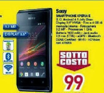 Per chi cerca uno smartphone android di fascia bassa a prezzo sottocosto suggeriamo il Sony Xperia E da Euronics per natale