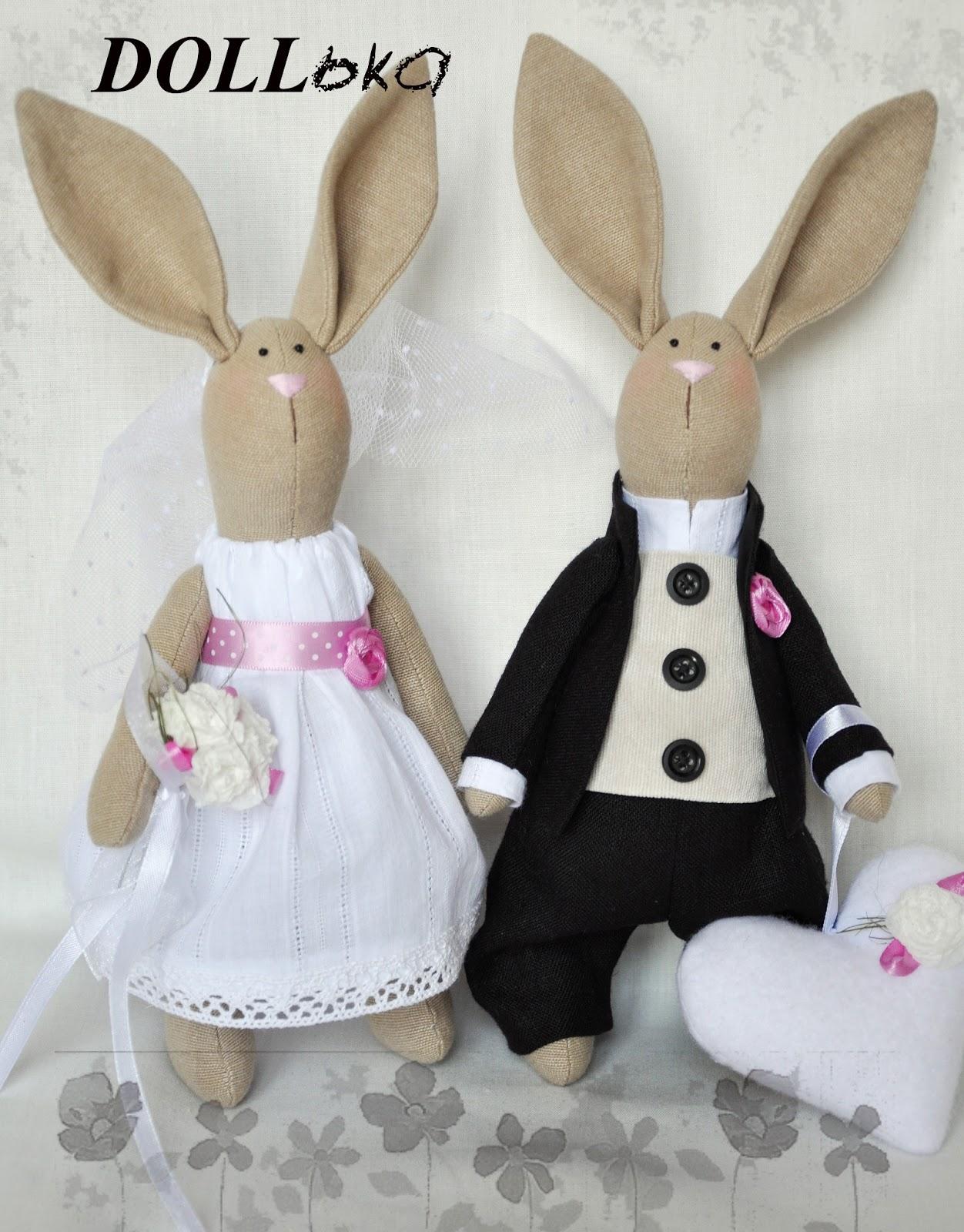 свадебные зайцы игрушки ручной работы