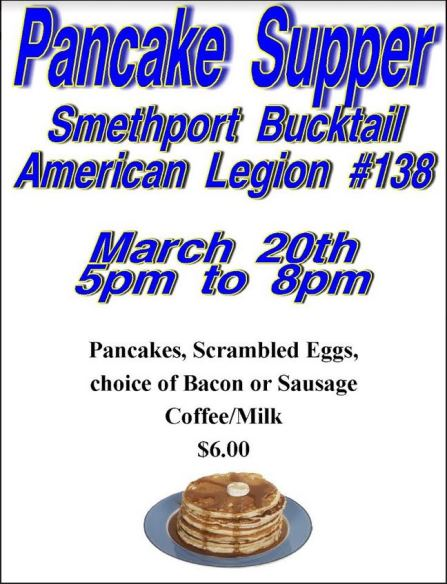 3-20 Pancake Supper Smethport