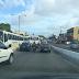 Viaduto Urbana congestionado nos dois sentidos