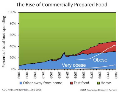 Graph showing increase in money spent on food away from home, broken down between fast food and other sources, compared to the increase in obsese and very obese people in the same time, post 1960