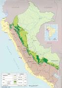 Regiones de áreas boscosas del Perú . Principales Carreteras del Perú (mapa geografico del peru)