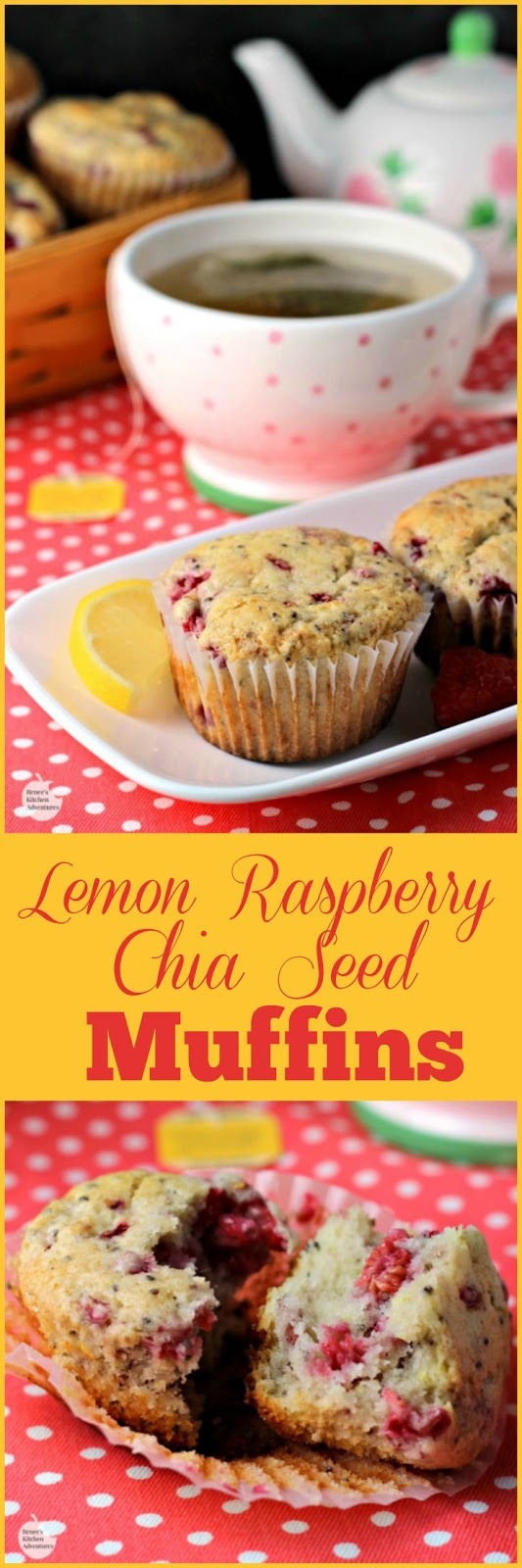 Lemon Raspberry Chia Seed Muffins | by Renee's Kitchen Adventures - Easy recipe for muffins great for snacks or breakfast #MeandMyTea ad  @Bigelowtea
