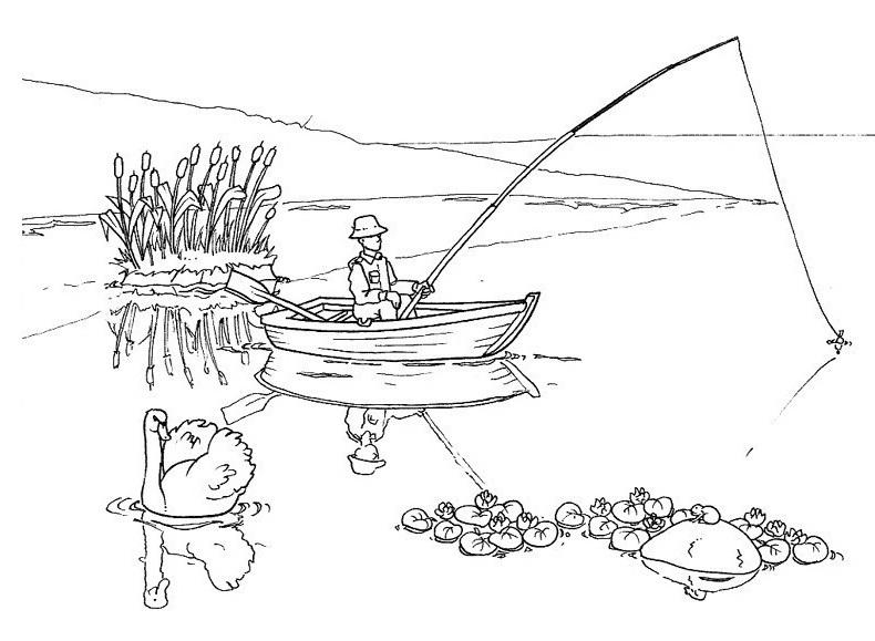 Colorea Tus Dibujos: Hombre pescando en lago par colorear y pintar