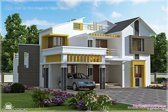 Eco friendly houses kerala contemporary villa with 4 bedroom for Modern house in kerala