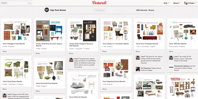 screenshot of High Point Market on Pinterest