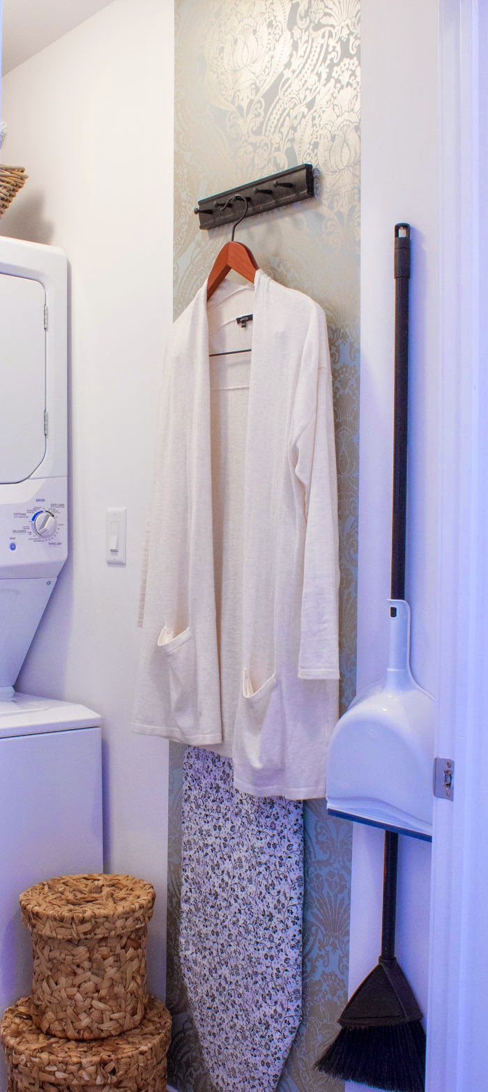 laundry closet organization; condo laundry storage; pretty laundry closet