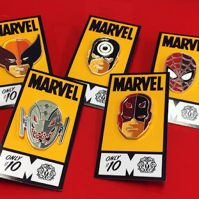 Marvel Character Portrait Enamel Pins by Tom Whalen - Spider-Man, Daredevil, Bullseye, Wolverine & Ultron