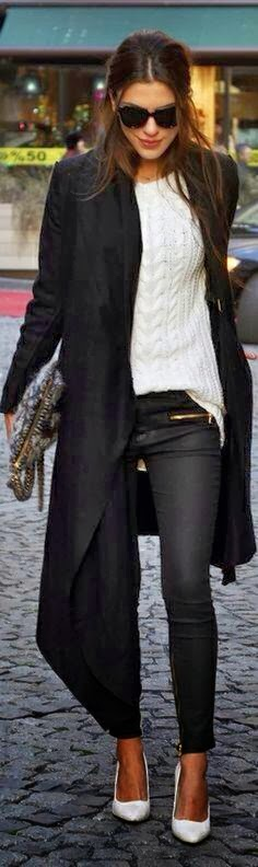 Street Style - Adorable Long Coat, Black Pants, White Sweater and High Heel Shoes with Suitable Handbag